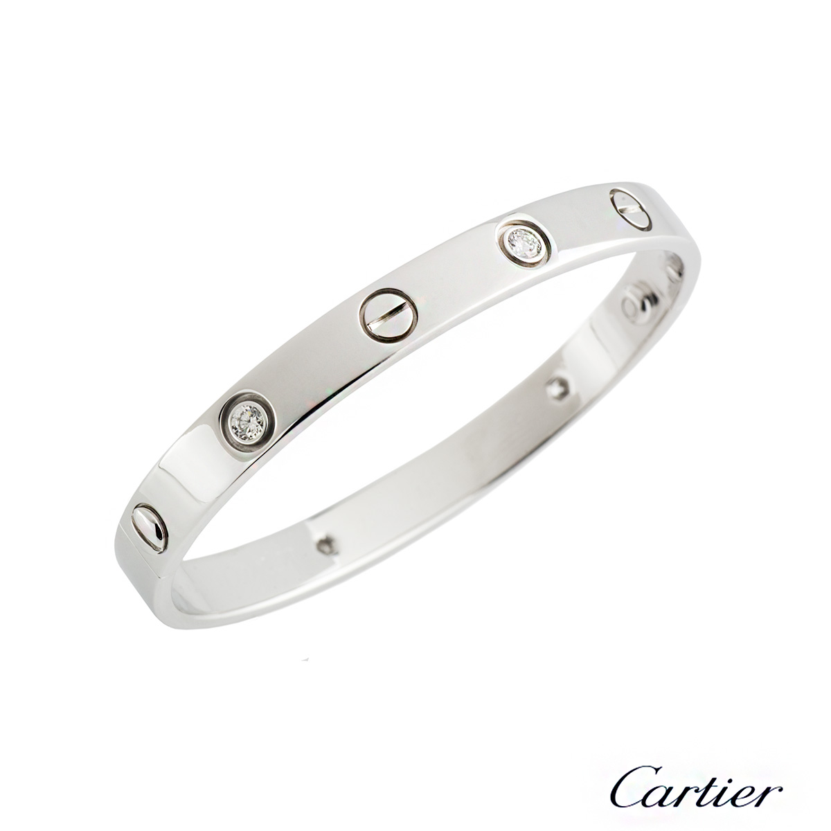 Cartier White Gold Half Diamond Love Bracelet Size 16 B6026416